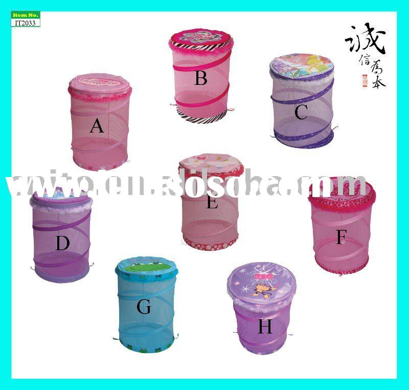 Household Products Foldable Collapsible Pop-up Mesh Cartoon Toy Storage Bin Laundry Hampers Bag Bask