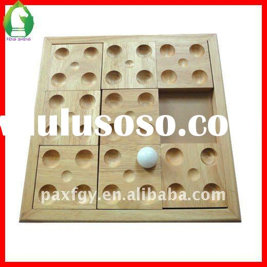 custom design solid wood board game set with marbles