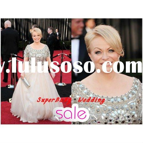 2012 Latest SE014 short sleeve red carpet oscar star evening dress