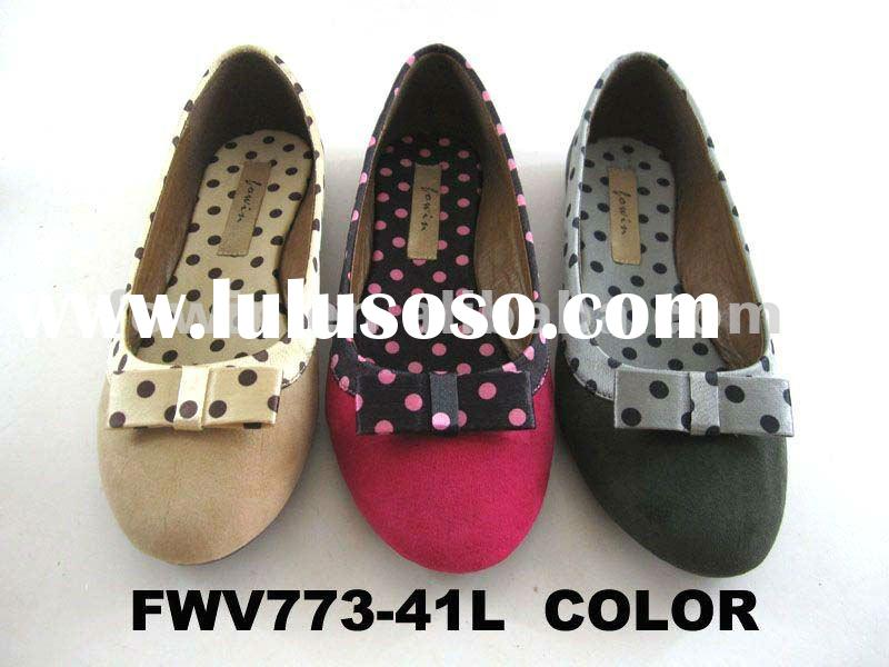 2012 New design fashion spotted flat womens shoes