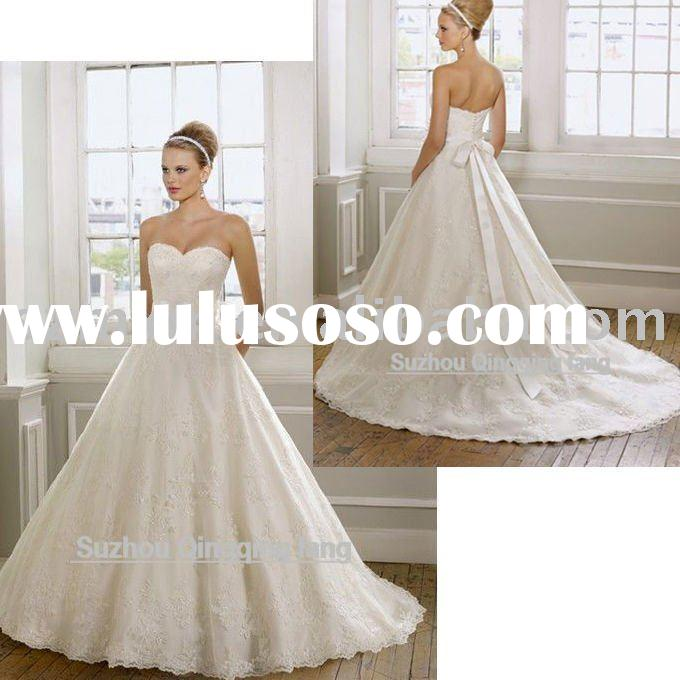 2012 WL-28 new style high quality embroidered lace on net customised size wedding dress