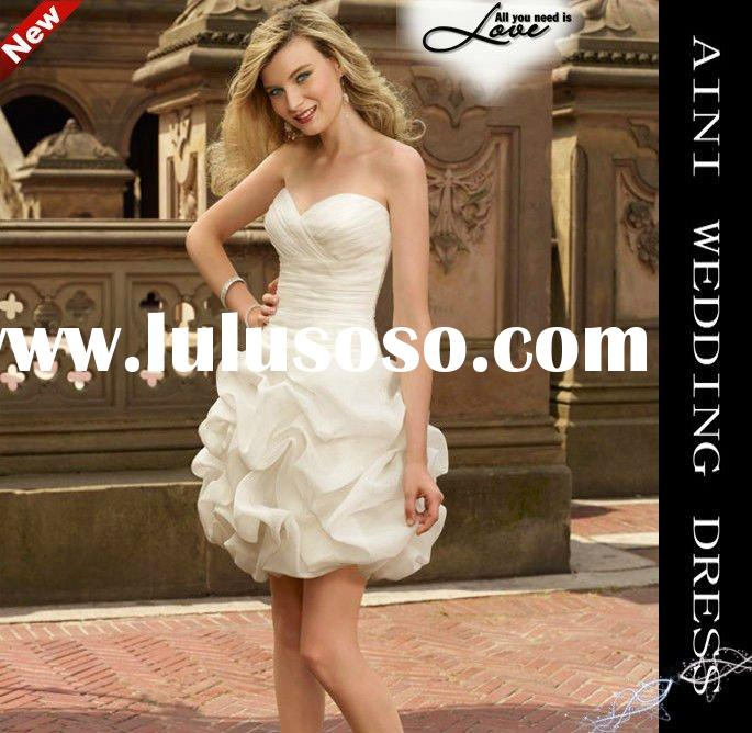 2012 new Mini Strapless Sweetheart Neckline Satin charming short wedding dress China