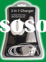 3 In 1 Cell Phone Charger (Travel Charger, Car Charger, USB Charger) For Iphone 3G