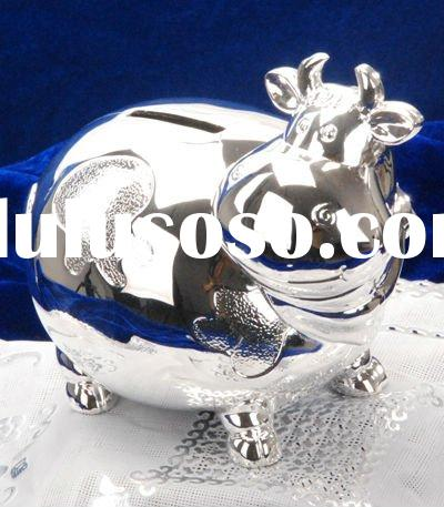 Antique Silver plated money box