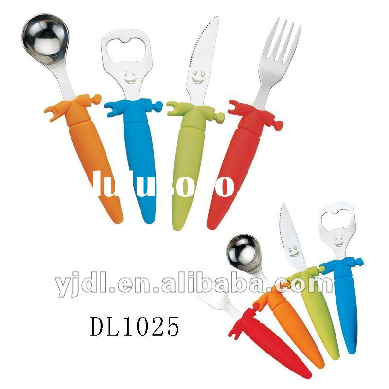 Baby colorful spoon knife forks flatware set