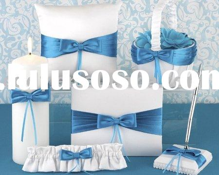 Blue Bow Wedding decoration/Best Price Wedding candles/Ocean Color Wedding Gift/Wedding Ring Pillow