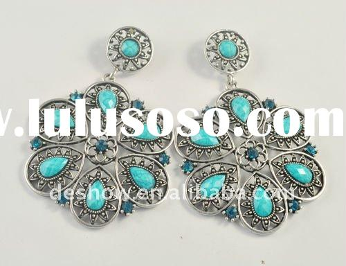 Blue Tibet Silver Nice crystal earrings (RT8345-1)