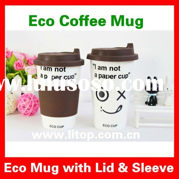 Customized Eco Friendly Ceramic Mugs Personalized Coffee Mugs Tea Mug Cup with Silicon Lid & Sle