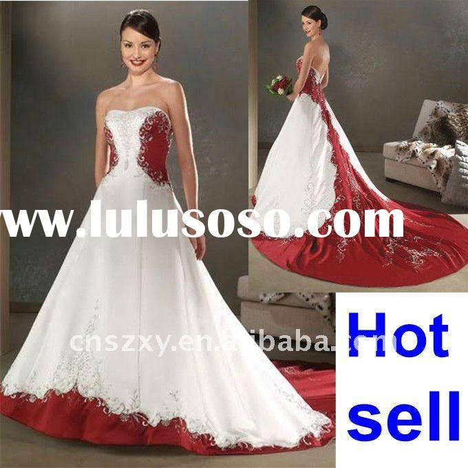 Factory Hot Sell High Quality Strapless Red and White Embroidery Beaded Wedding Dresses