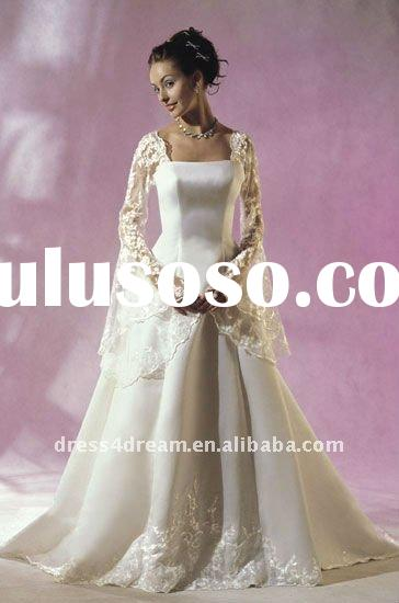 Long sleeve satin wholesale maxi dresses with lace