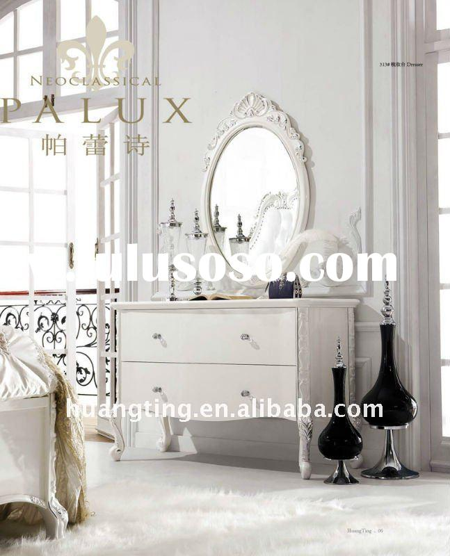 Neoclassical French style wooden dresser with mirror/ bedroom dresser/ wooden dressing table/ white