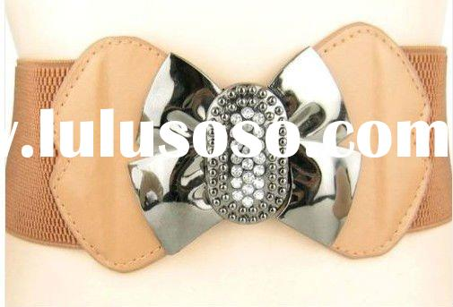 New Women Rhinestone Buckle Leather belt elastic stretch belt