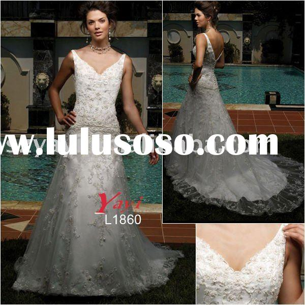 Old-fashioned delicate beaded lace bridal clothes L1860