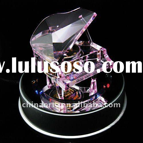 Personalized Pink Crystal Piano Model With Music Box For Wedding Favor
