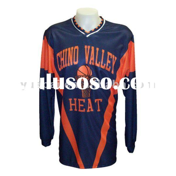 Personalized sublimation printing basketball apparel long Sleeve jersey