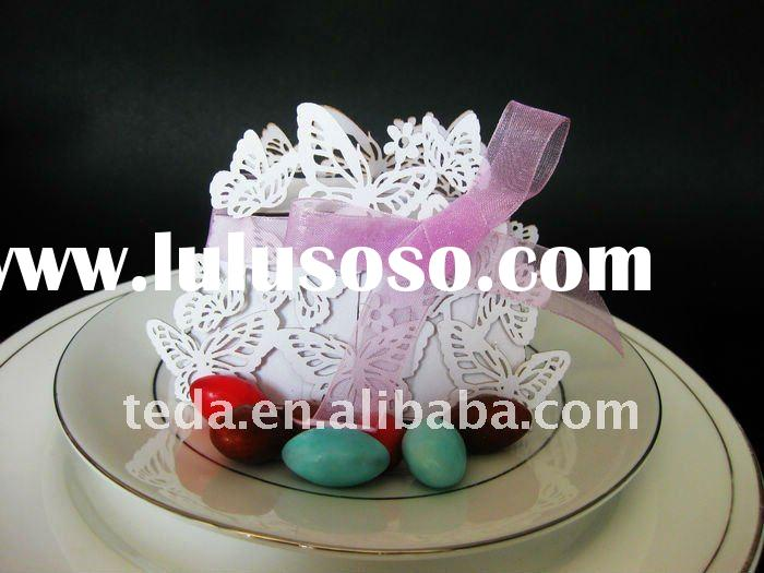 Personslized Laser cut white Butterfly favor Candy boxes