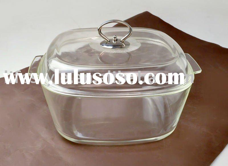 Pyrex Glass Casserole,Square Oven Dish with Cover,Crystal Glass Stew Pan, Cookware