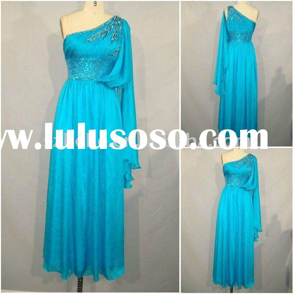 RE029 Elegant beaded one shoulder blue chiffon dress long picture modern dresses