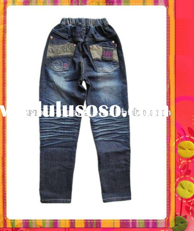 Smart cute casual kids denim jeans embroidery
