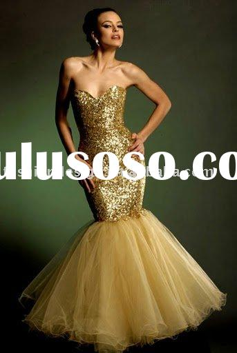 VE564 strapless fully sparkle sequined mermaid evening dress