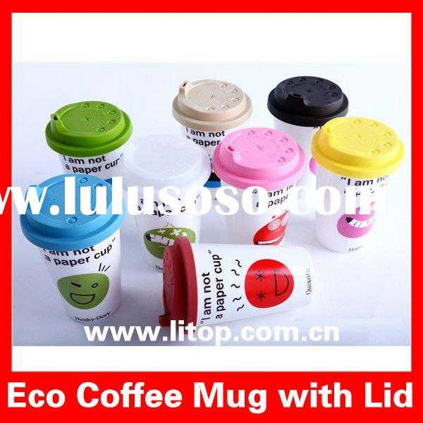 Various Funny Faces printed Ceramic Eco Coffee Cups Tea Mugs and Cups with Silicon Lid & Sleeve