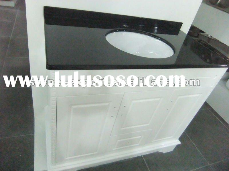 White Antique Cabinet with Black Granite Vanity top
