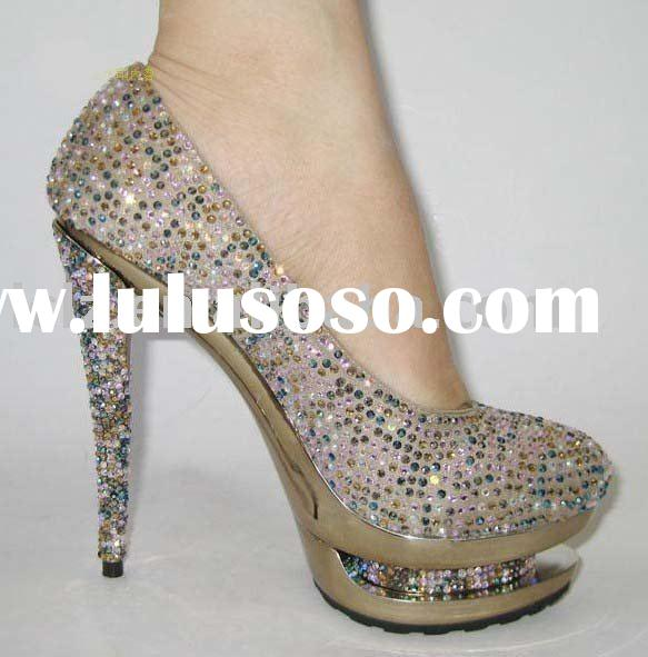 Wholesale / retail lady high heel shoes with colorful diamond