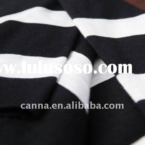 Yarn dyed feeder stripe cotton knitted fabric