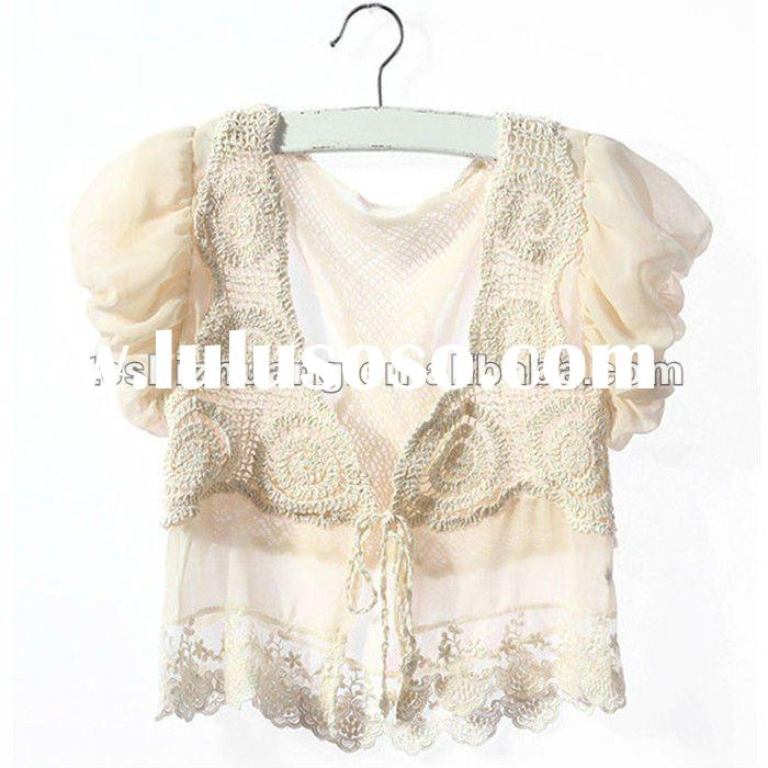 crochet vest and chiffon fabric splice short puff sleeve design short blouses with lace