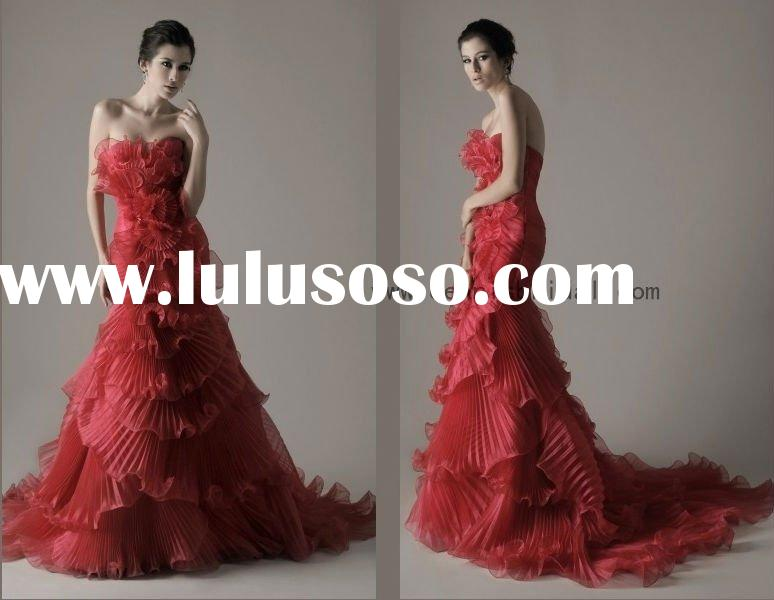 hot red multi-layers organza mermaid strapless dennis evening dress CA17