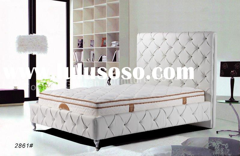 luxury white leather bed furniture