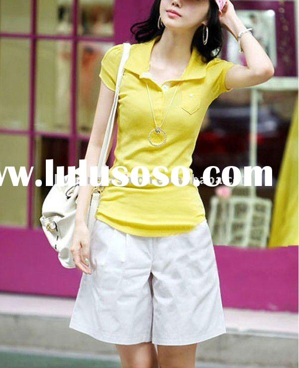 100% pure cotton rib skin tight plain white solid color women's short-sleeved polo shirt