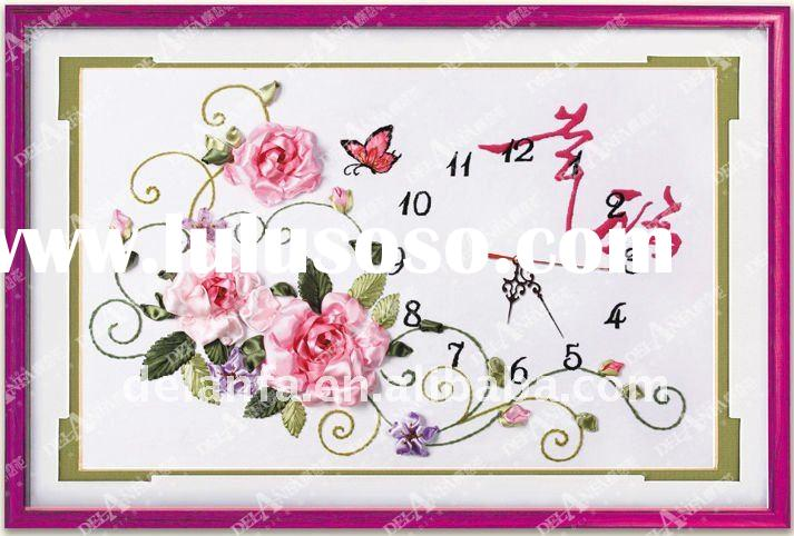 2011 best-selling diy embroidery wall clock kits (Happiness)