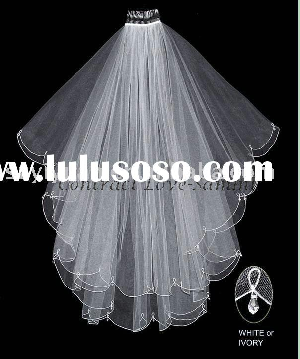 2011 new style hot sale short silk tulle crystals wedding veil bridal accessories
