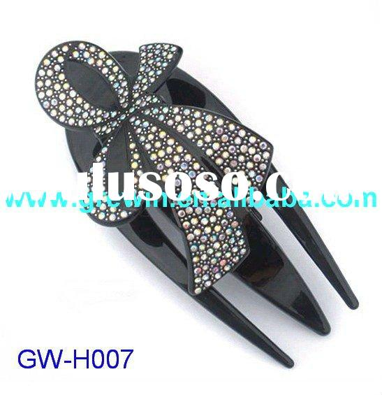2012 new beautiful black color crystal bowknot bow-tie battette