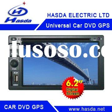 """2 din 6.2"""" touch screen universal size car gps with DVD,TV,Mp3,Mp4,bluetoothand and car steer w"""