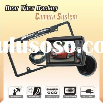 wireless car rear view license plate mounted camera system with lcd monitor for sale price. Black Bedroom Furniture Sets. Home Design Ideas