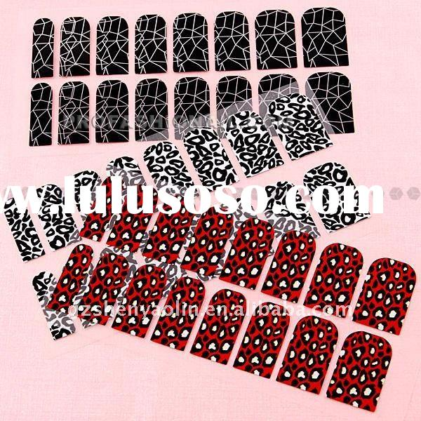 3sheets/Set Leopard + crack turtle Series Nail Stickers Full cover Tips Nail Art NA608