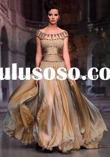 AE028 Miraculous off shoulder rushed corset with crystals floor length Arabic Evening dress