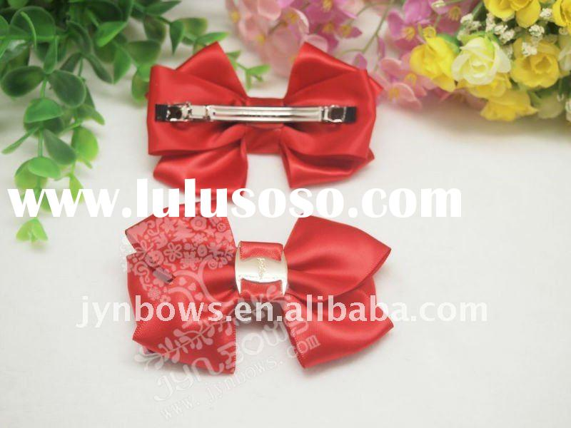 BA-042B Red Satin ribbon adult hair bow;Hair Accessories;Novelty Ribbon Bows.