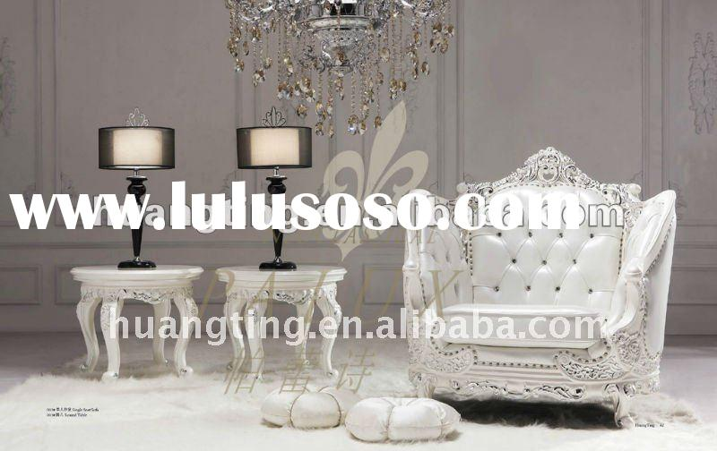 Baroque style traditional Italy leather sofa sets.white leather sofa with wood carving