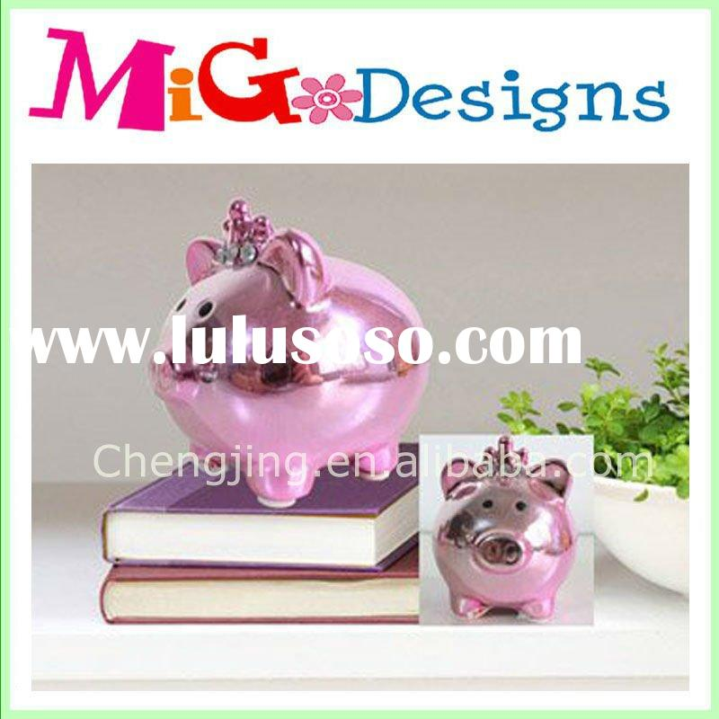 Ceramic Pig Piggy Bank With Crown Pink ;ceramic money box;coin bank