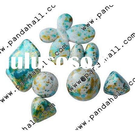 Colorful Acrylic Beads, Spray-Painted, Sprinkle Style, Assorted Shape, Cyan, about 120pcs/500g(MACR-
