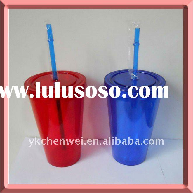 Double wall Acrylic plastic tumbler with straw