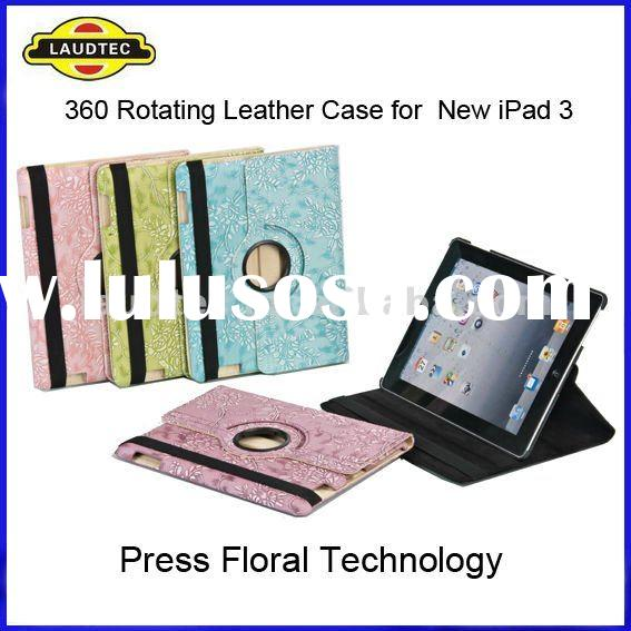 For New iPad & iPad 3, 360 Rotating Stand Leather Case, Magnetic Smart Cover, SLEEP WAKE FUNCTIO