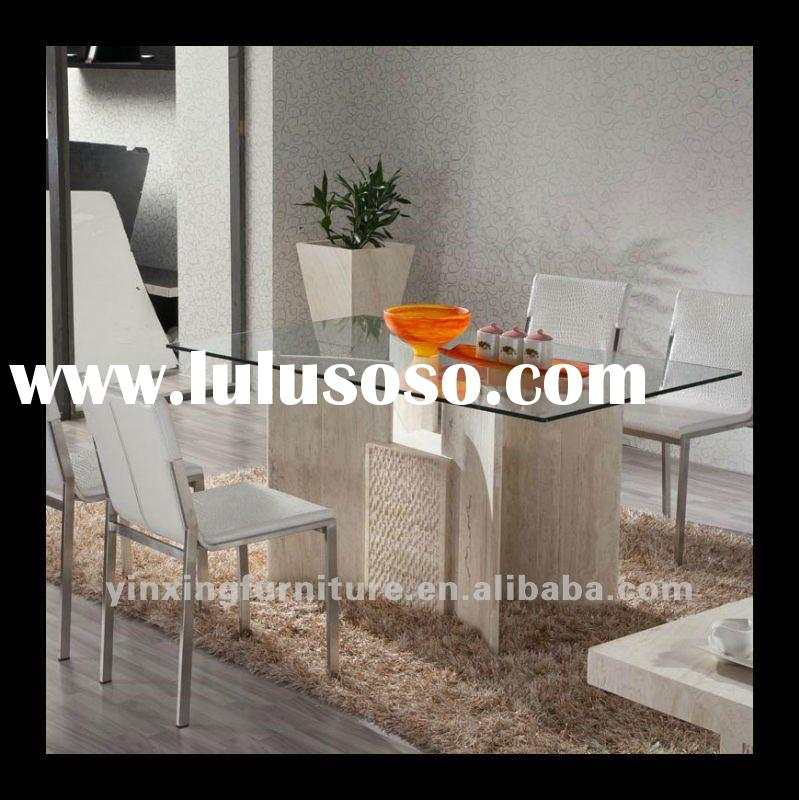 Glass top marble base dining table D1102