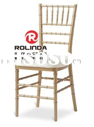 Gold Wooden Chiavari chair with Ivory Satin pad cover