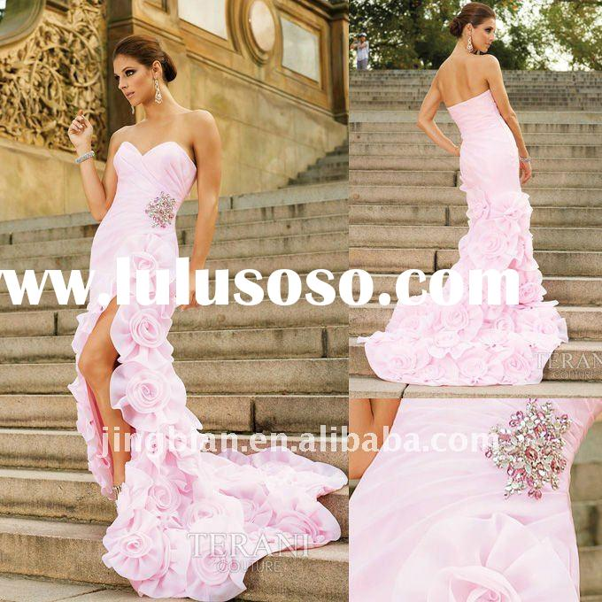 Gorgeous Light Pink gown with Ruffled Flowers on Train Latest Dress Designs Fashion Dresses evening