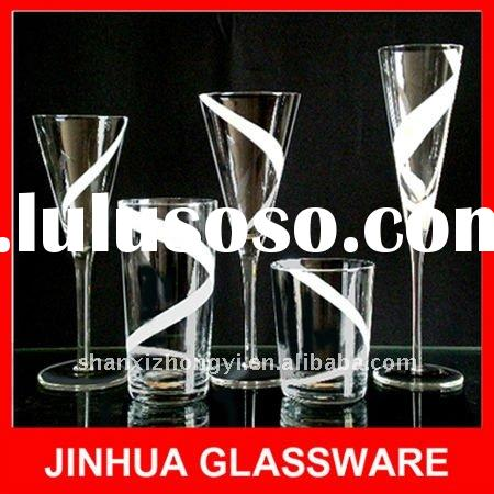 Handmade acrylic glasses drinkware with white color ribbon