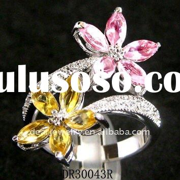 Hot sale Pink color CZ flower 925 silver rhodium planting wedding ring DR30043R Accept Pay By Paypal
